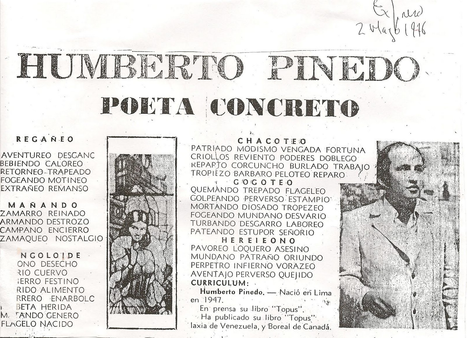 Poeta Humberto Pinedo Mendoza