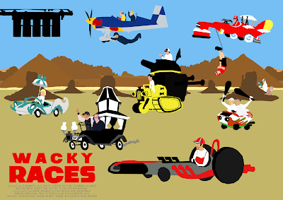 F1 Wacky Races minimal movie poster designed by Russell Ford for Autosport magazine May 24th 2012