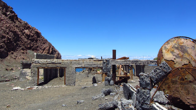 Remnants of White Island's sulfur mining plant.