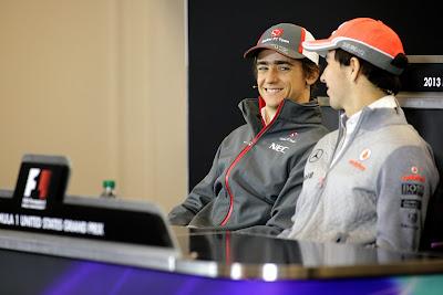Эстебан Гутьеррес и Серхио Перес на пресс-конференции в четверг на Гран-при США 2013