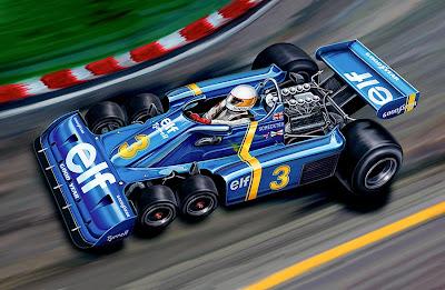 Джоди Шектер на шестиколесом Tyrrell - рисунок David F. Kyte