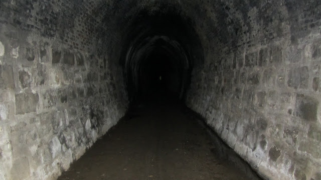 Inside the old railway tunnel.