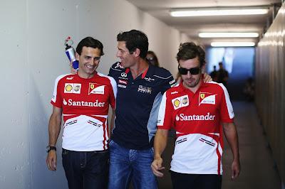 Марк Уэббер в компании Педро де ла Росы и Фернандо Алонсо на Гран-при Венгрии 2013