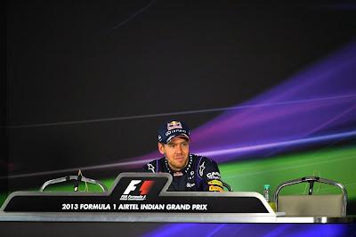 одинокий Себастьян Феттель на пресс-конференции после гонки на Гран-при Индии 2013