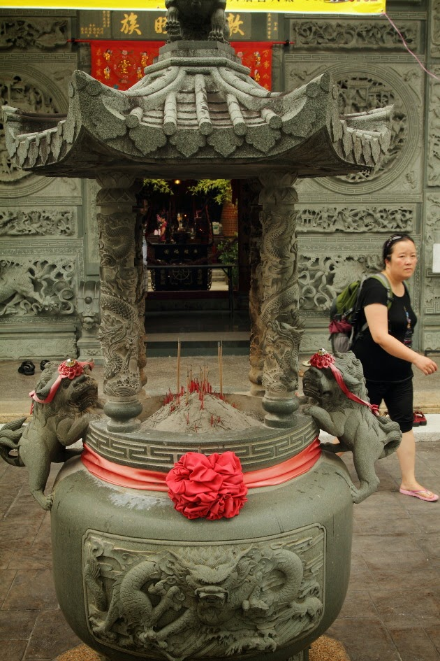 At the entrance of the Chinese temple in Georgetown, Penang, Malaysia