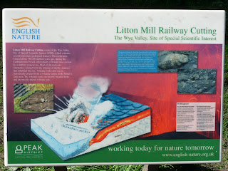 A board showing information on the Litton Mill Railway Cutting. It certainly is a great feat of engineering.