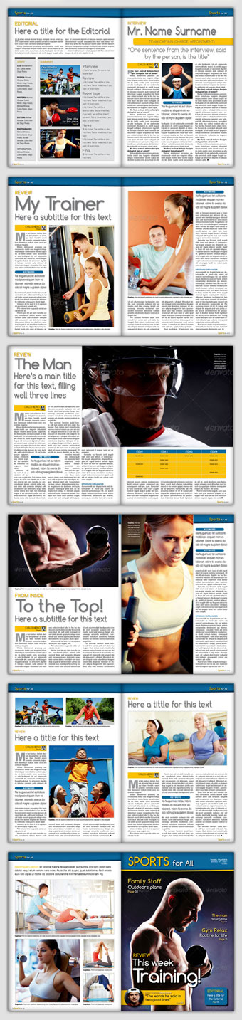 Sports For All Plantilla de revista InDesign CS3 - vista previa de todas las páginas