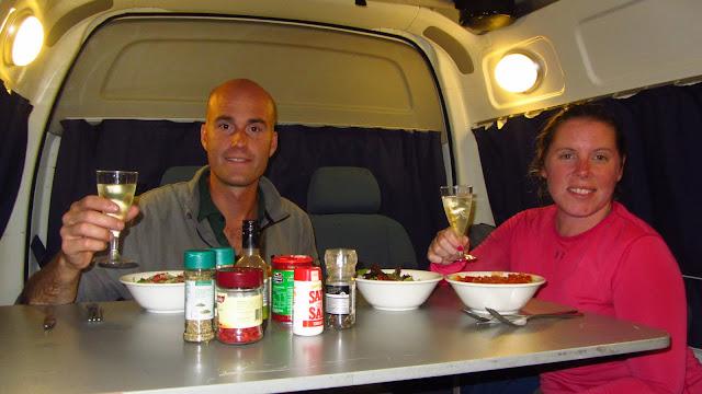 Our first campervan dinner!