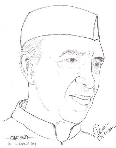Jawaharlal Nehru Sketch Drawing Sketch Coloring Page