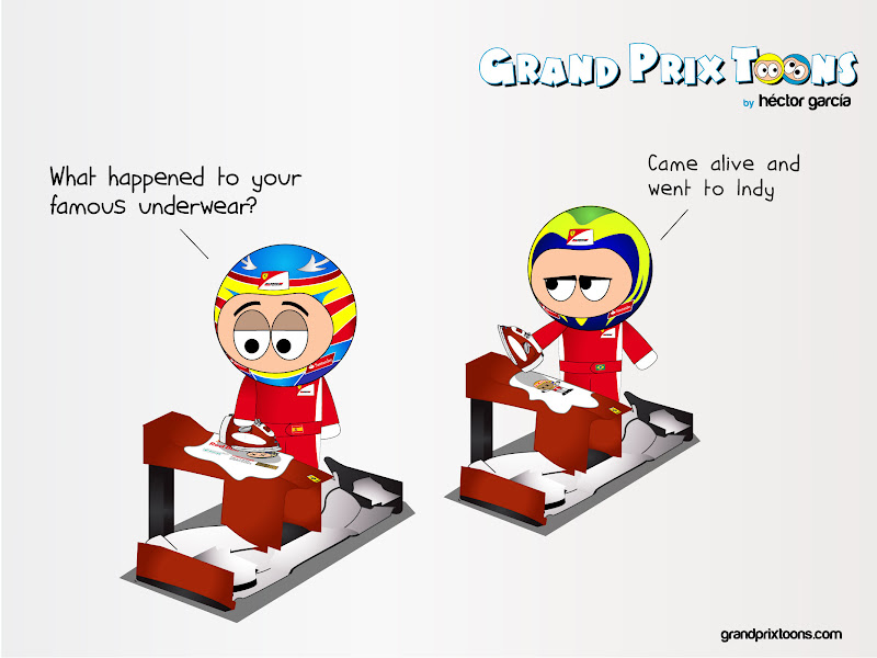 Фернандо Алонсо и Фелипе Масса гладят белье на носовых обтекателях Ferrari - комикс Grand Prix Toons