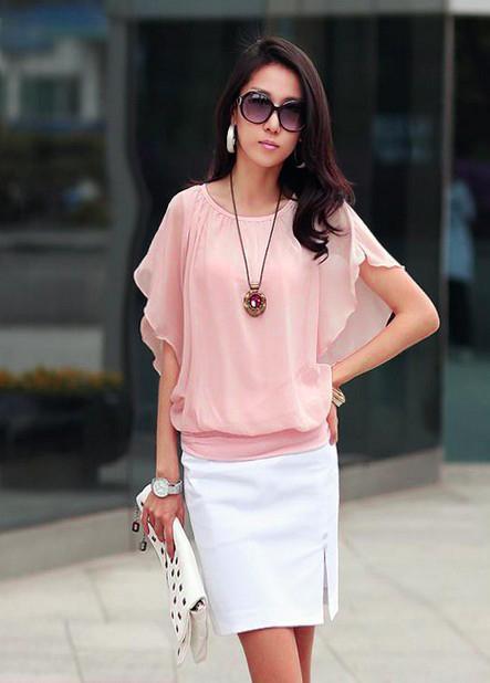 Womens-Elegant-Batty-Short-Sleeve-Chiffon-Top-Blouse