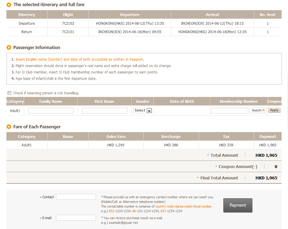 seoul booking flight