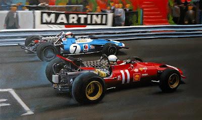 Крис Эймон на Ferrari и Джеки Стюарт на Matra отправляются со старта Гран-при Монако 1969 - картина Roman Goloseev