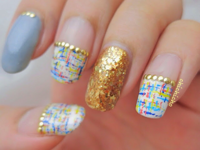 Crosshatch Pattern Water Decal Nail Art