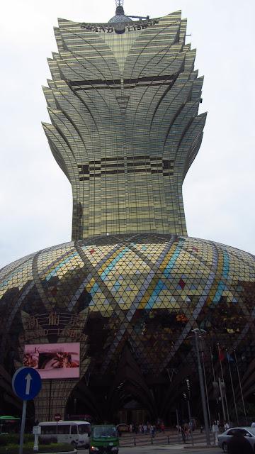 The fishbowl and pineapple shaped Grand Lisboa on the Macau Peninsula.