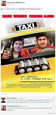 Фернандо Алонсо предлагает Марку Уэбберу сняться в фильме по мотивам Гран-при Сингапура 2013 - постер из твиттера гонщика