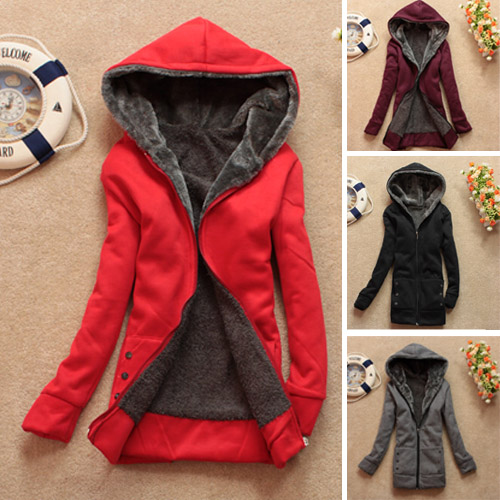 Winter-Parka-Fleece-Lined-Long-Sleeve-Women-039-s-Hoodie-Coat-Jacket-Outwear-Jumper