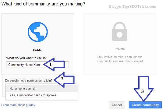 how to add a community page on Google Plus