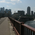 I went biking around the city on my usual photo hunt...I have a compulsion to take a picture every time I'm on a bridge.  The one on the right is the rebuilt one that collapsed in 2007.