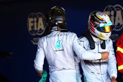 Нико Росберг и Льюис Хэмилтон после квалификации на Гран-при Монако 2014