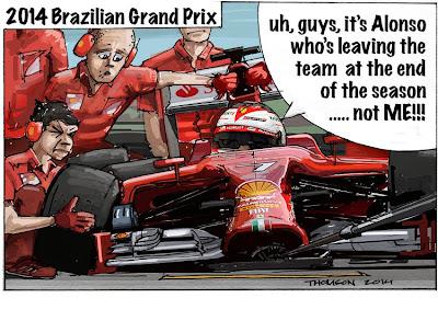 механики Ferrari заваливают пит-стоп Кими Райкконена - комикс Bruce Thomson по Гран-при Бразилии 2014