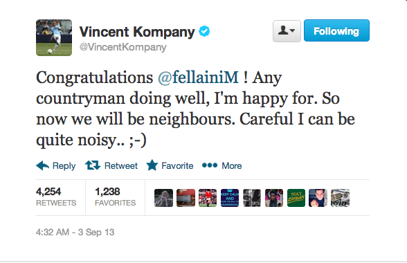 Screen+Shot+2013 09 03+at+11.00.41 Awesome Tweet! Vincent Kompany warns Marouane Fellaini: I can be quite noisy!