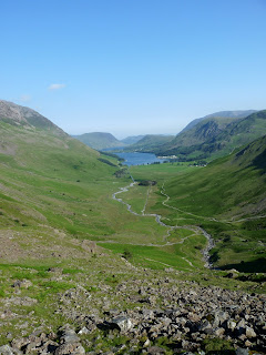 Looking back down to Warnscale from our steep climb. The white tents etc near Buttermere were for a Lakes Charity Classic event that was being held.