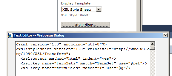SP Term Cloud XSL editor