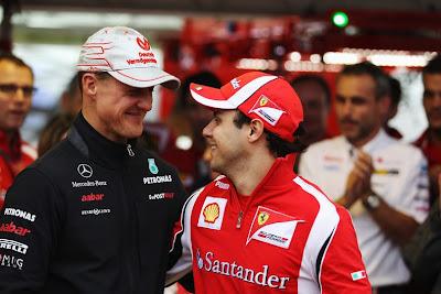 Михаэль Шумахер и Фелипе Масса на Гран-при Бразилии 2011