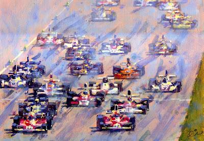 Клей Регаццони и Ники Лауда на Ferrari лидируют после старта в Монце на Гран-при Италии 1975 - картина Rob Ijbema