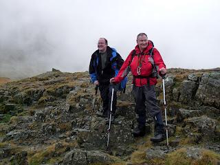 Ian and John near the stretcher box at Styhead