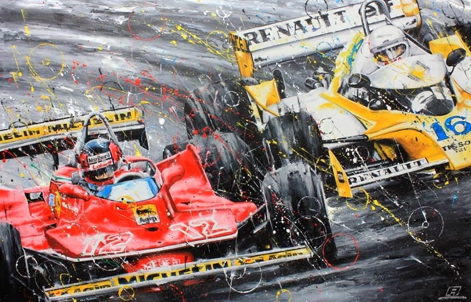 сражение колесо в колесо между Жилем Вильневым и Рене Арну на Гран-при Франции 1979 - рисунок Art Rotondo