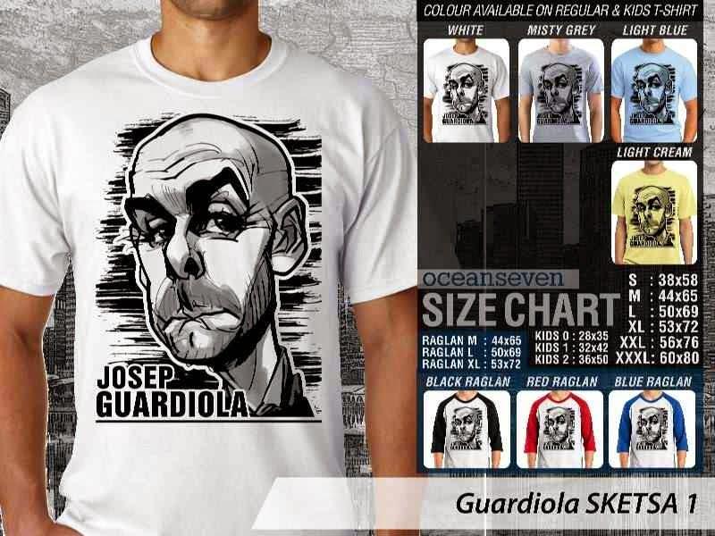 KAOS Pep Guardiola Artwork Sketsa distro ocean seven