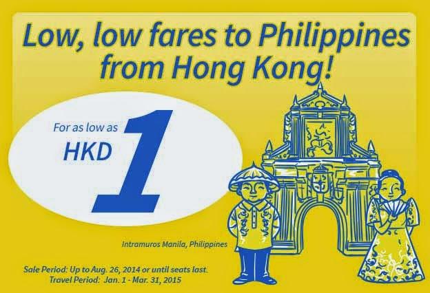 香港飛菲律賓來回機票,宿霧HK$1起(連税HK$609) ,馬尼拉$1起(連税$543),優惠至8月26日。