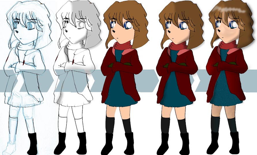 Ai Haibara apparences,  black and white,and colored