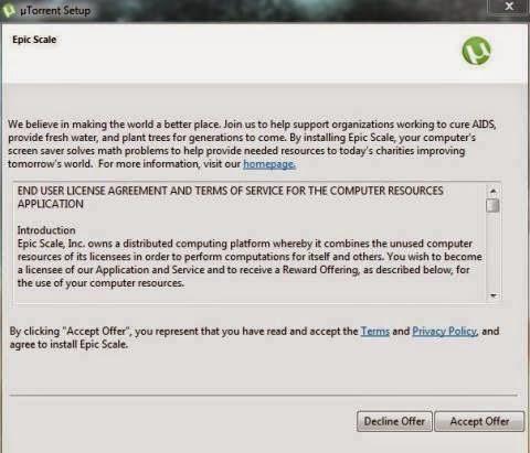 uTorrent Menggunakan CPU Anda Secara Tersembunyi - Epic Scale Cryptocurrency