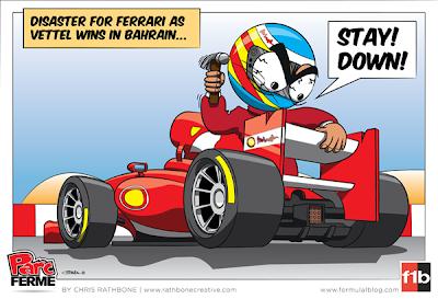 Фернандо Алонсо и заднее крыло Ferrari - комикс Chris Rathbone по Гран-при Бахрейна 2013