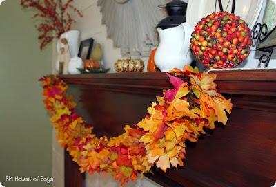fall leaves, fall mantel