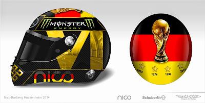шлем Нико Росберга в честь победы Германии в чемпионате мира по футболу для Гран-при Германии 2014
