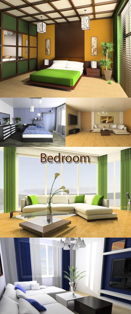 Stock Photo: Modern bedroom and living room
