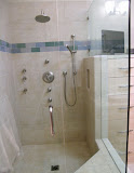 Perez Master Bath 3 of 4 - Another view of this multi-functional shower.  We used decorative glass tiles as an accent.