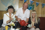 The Mayor of Lancaster, Cllr June Ashworth and the Mayoress, her daughter Alex, are served tea by Lancaster and Morecambe Yacht Club Rear Commodore, Keith Byers at the club's Tea by the Sea. The event raised over £130 for the Sail 4 Cancer charity.