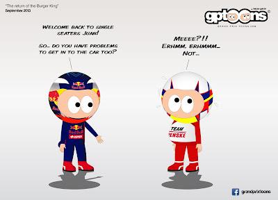 Риккардо приветствуют Монтойу в IndyCar - комикс Grand Prix Toons