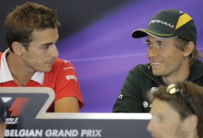 Жюль Бьянки и Шарль Пик на пресс-конференции в четверг на Гран-при Бельгии 2013