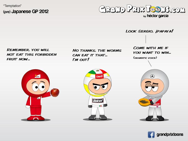 Серхио Перес между Ferrari и McLaren - комикс Grand Prix Toons