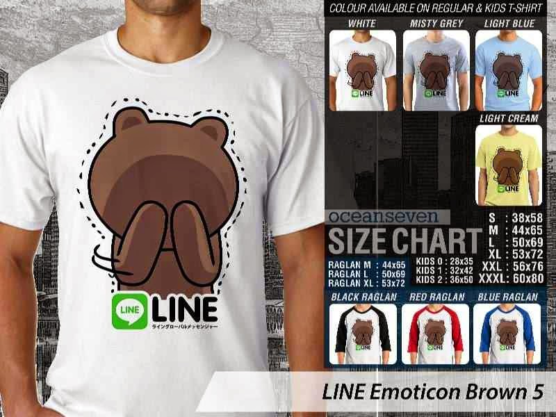KAOS IT LINE Emoticon Brown 5 Social Media Chating distro ocean seven