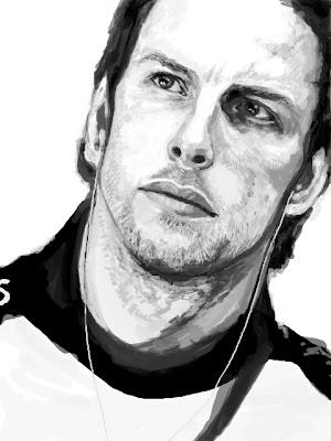 черно-белый рисунок Дженсона Баттона