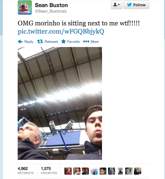 Screen+Shot+2013 10 19+at+19.04.31 Fan takes selfie with Jose Mourinho in the stands during Chelsea 4   Cardiff 1