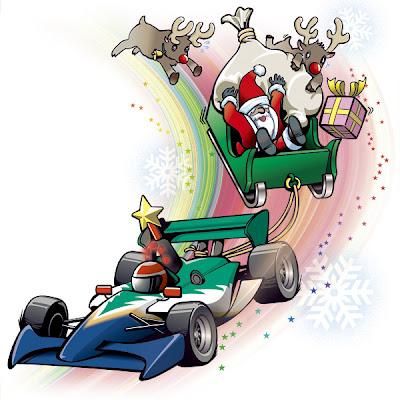 Санта с гоночным болидом вместо оленей - рисунок cliors