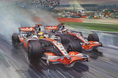 Льюис Хэмилтон и Хейкки Ковалайнен на McLaren идут бок о бок под дождем на трассе Сильверстоуна на Гран-при Великобритании 2008 - картина Michael Turner
